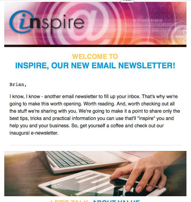 Inspire E-Newsletter Screenshot