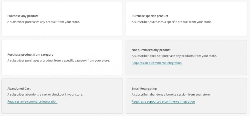 MailChimp Automation - E-Commerce Triggers