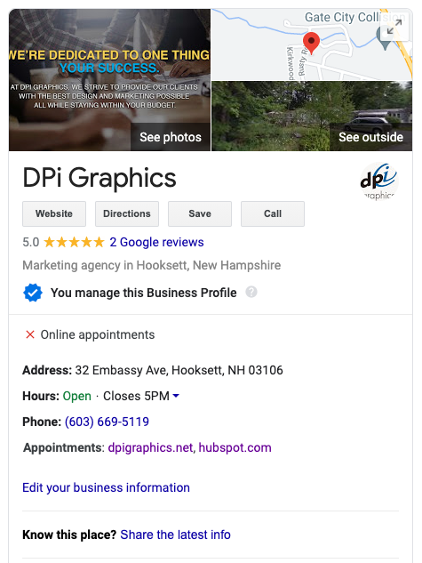 DPi Graphics Google Business Listing - Rank Higher in SERPs